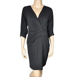 BCBG Black Draped Twist Ruched Sleeve Dress